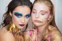 Two nice young women with creative make-up