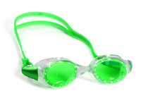 Light green goggles for swimming with water drops