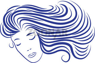 Cartoon woman silhouette with blue hair looking like sea waves.