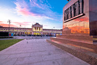 Zagreb central station and King Tomislav square sunset view