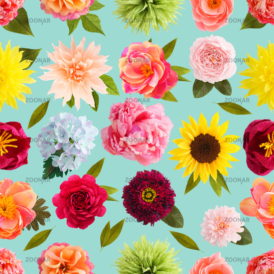 Crepe paper flower seamless pattern pastel colors