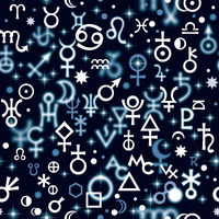 Astrological hieroglyphic signs, Mystic kabbalistic symbols. Deep Night background, Chaotic seamless pattern.