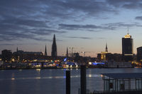 The harbor of Hamburg eraly in the morning, German