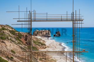 Petra tou Romiou or Aphrodite's Rock seen through Ten Poiins of Vision installation artwork of Costas Tsoclis