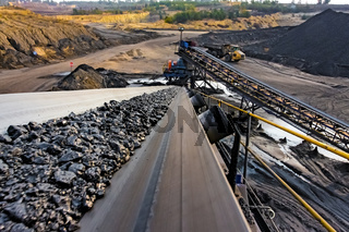 Coal Ore on a conveyor belt for processing