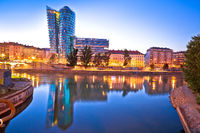 City of Vienna old Danube river waterfront evening view