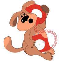 Sad or puzzled dog talking on a rare red phone.