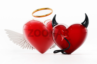 Angel and evil hearts isolated on white background. 3D illustration