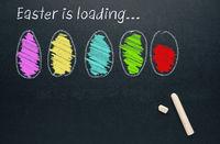 Hand drawn Easter eggs on a chalkboard, easter egg loading bar