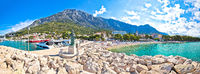 Town of Baska Voda beach and waterfront panoramic view
