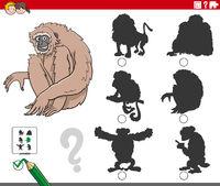 shadows task with cartoon gibbon ape animal character