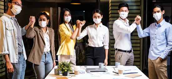 Panorama Office worker wear face mask in meeting room alternative greeting in new normal lifestyle