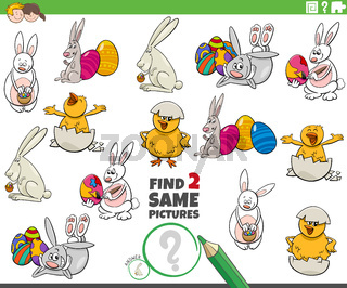 find two same Easter characters task for children