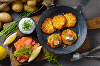 Potato pancakes with chives curd and salmon