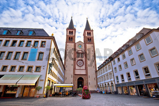 Old town of Wurzburg cathedral and square architecture view