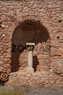 Detail of ruins in Delphi, Greece. Delphi is ancient sanctuary that grew rich as seat of oracle that was consulted on important decisions throughout ancient classical world. UNESCO World heritage