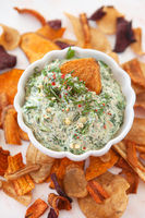 Spinach dip with chips