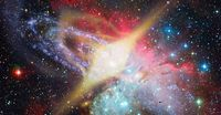 Glowing spinning neutron star. Elements of this image furnished by NASA