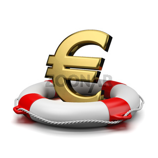 Gold Euro Currency Symbol Shape on a Lifebuoy on White Background 3D Illustration