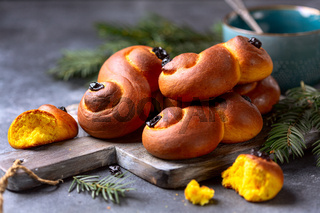 Buns with saffron.Traditional Scandinavian pastries.