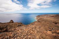 Scenic volcanic coastline landscape in el Hierro, Canary Islands, Spain.