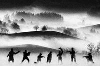 War concept. Vintage military silhouettes fighting scene  background, Civil war soldiers silhouettes