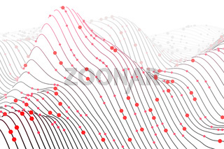 Digital chart with circles on white background. Sound waves visualization.