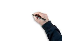 hand with black felt tip marker pen on white background