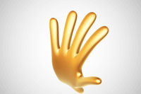 3D golden cartoon hand raised in welcoming gesture on white background.