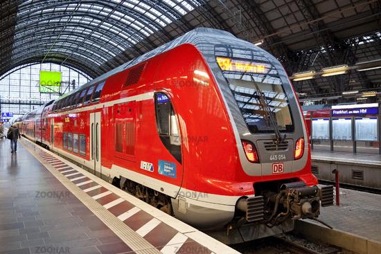 Frankfurt Central Station with local train, Frankfurt am Main, Hesse, Germany, Europe