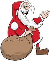 cartoon Santa Claus Christmas character with sack of presents