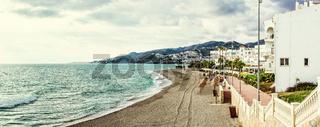 Panorama of empty beach. Nerja, Spain
