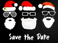 Three Santa Claus Paper Mask, Black Background, Text Save The Date