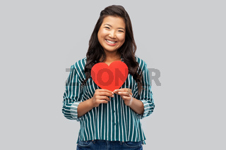 happy asian woman with red heart