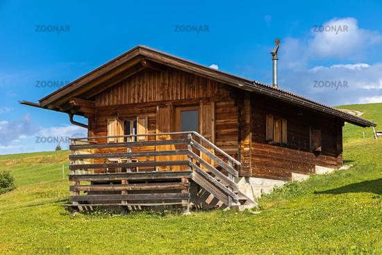 Huts on Seiser Alm, Alpe di Siusi, South Tyrol