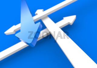 Pfeilkonzept Vier Richtungen - Blau Weiß