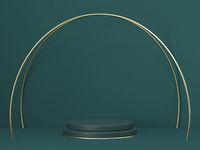Mock up podium for product presentation golden crossed arcs 3D