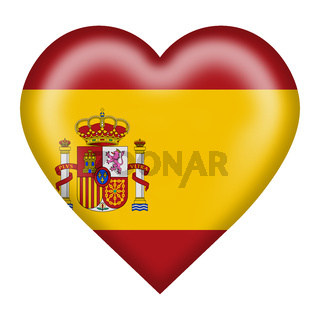 Spain flag heart button isolated on white with clipping path