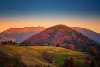 beautiful landscape with valleys, mountains in morning