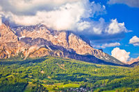 Alpine peaks and landscape of Cortina d' Ampezzo in Dolomites Alps view