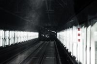 Blurred subway tunnel with fast speed