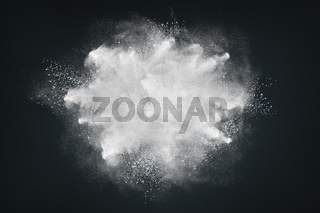 Abstract design of white powder or dust particles cloud explosion and splash with smoke flying over black background