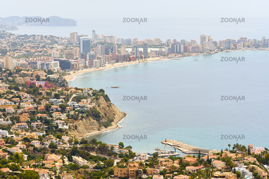 Aerial view of Calpe cityscape, Spain