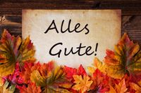 Old Paper With Text Alles Gute Means Best Wishes, Colorful Leaves Decoration