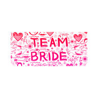 Bachelorette Party. Team Bride Text Doodle Style. Hand Written Card for Bridal Shower or Hen Party. Wedding Design.