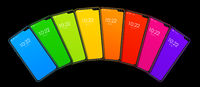 Rainbow colorful smartphone set banner. Isolated on black. 3D render