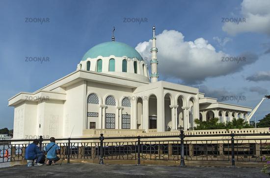 Kuching Floating Mosque at the Sarawak River Waterfront, Kuching, Sarawak, Borneo, Malaysia