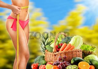 Dieting. Balanced diet based on raw organic vegetables.