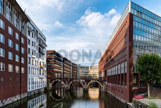 Scenic view of Bleichenfleet Canal in Hamburg