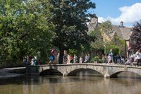 Bourton on the Water  Oxfordshire Uk- 19 July 2020 : Tourists during Covid pandemic